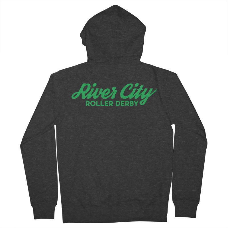 River City Roller Derby Green Women's French Terry Zip-Up Hoody by RiverCityRollerDerby's Artist Shop