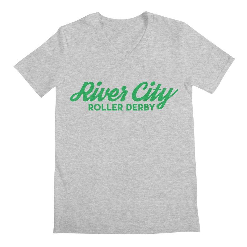 River City Roller Derby Green Men's Regular V-Neck by RiverCityRollerDerby's Artist Shop