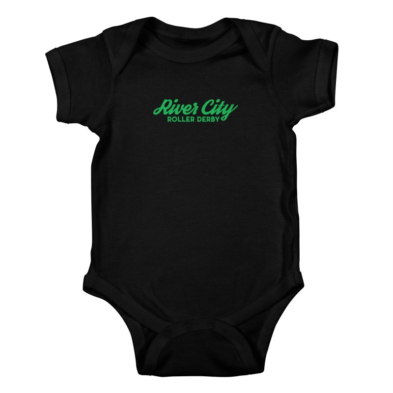 River City Roller Derby Green Kids Baby Bodysuit by RiverCityRollerDerby's Artist Shop