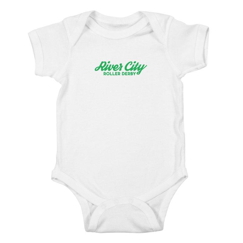 River City Roller Derby Green Kids Baby Bodysuit by River City Roller Derby's Artist Shop