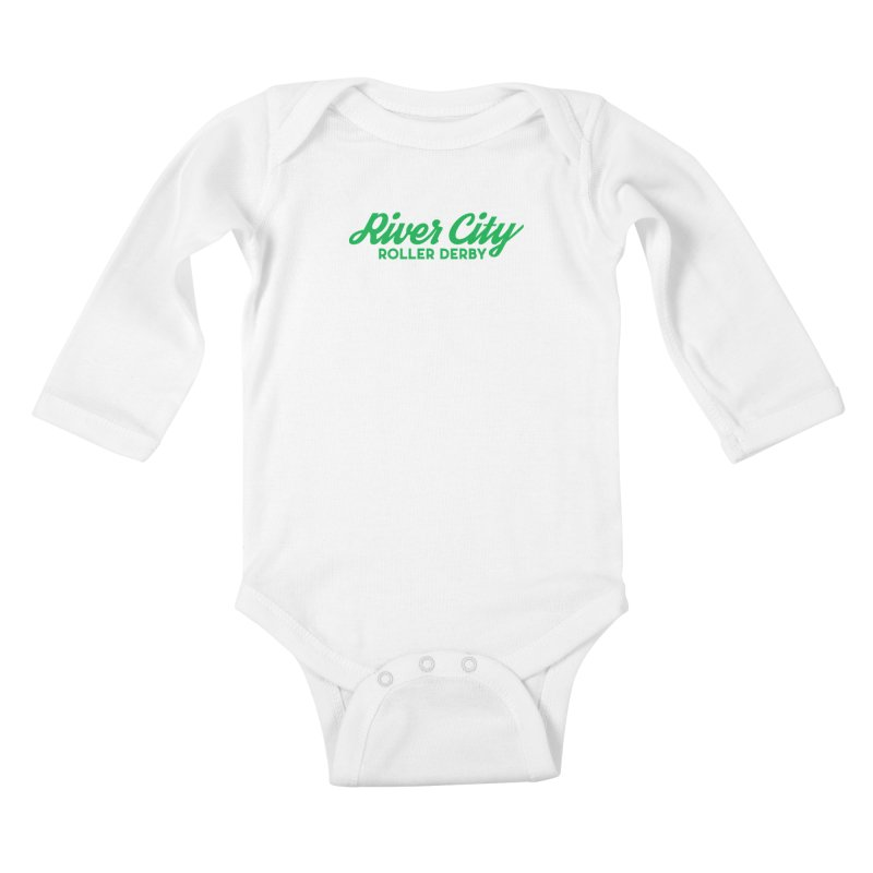 River City Roller Derby Green Kids Baby Longsleeve Bodysuit by RiverCityRollerDerby's Artist Shop