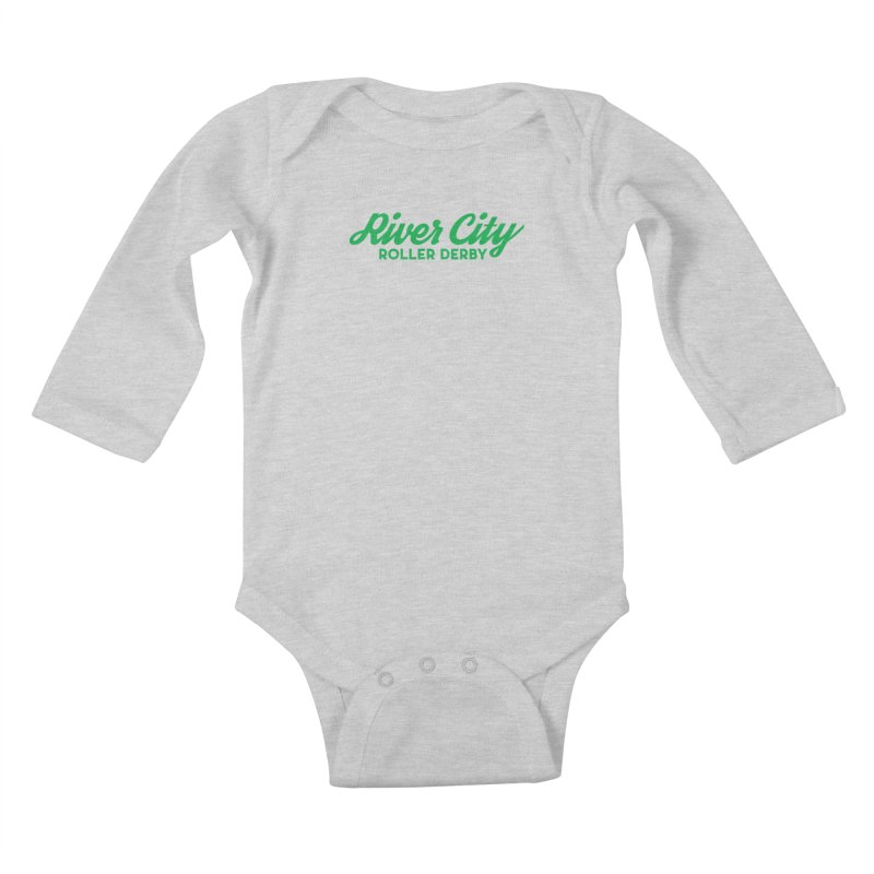 River City Roller Derby Green Kids Baby Longsleeve Bodysuit by River City Roller Derby's Artist Shop