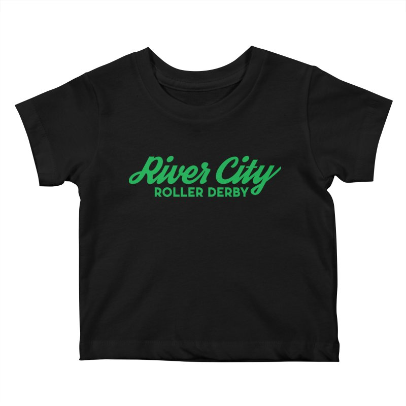 River City Roller Derby Green Kids Baby T-Shirt by RiverCityRollerDerby's Artist Shop