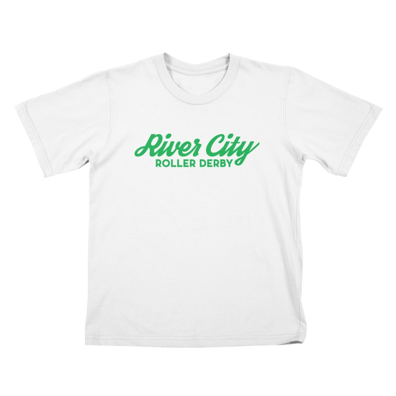 River City Roller Derby Green Kids T-Shirt by RiverCityRollerDerby's Artist Shop