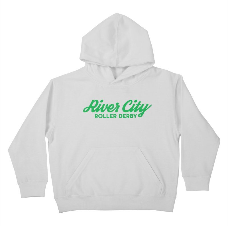 River City Roller Derby Green Kids Pullover Hoody by RiverCityRollerDerby's Artist Shop