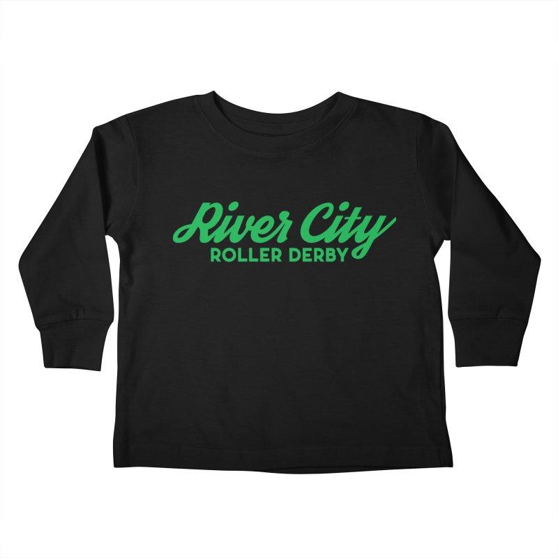 River City Roller Derby Green Kids Toddler Longsleeve T-Shirt by River City Roller Derby's Artist Shop
