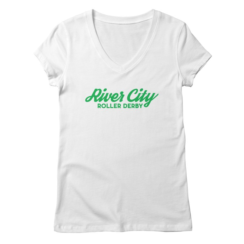 River City Roller Derby Green Women's Regular V-Neck by RiverCityRollerDerby's Artist Shop