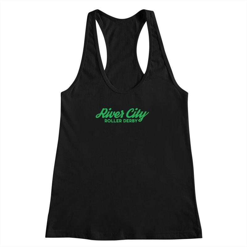 River City Roller Derby Green Women's Racerback Tank by RiverCityRollerDerby's Artist Shop