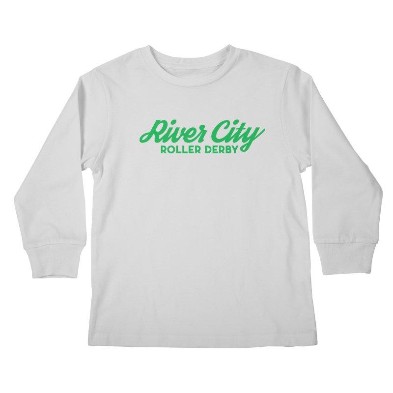 River City Roller Derby Green Kids Longsleeve T-Shirt by RiverCityRollerDerby's Artist Shop