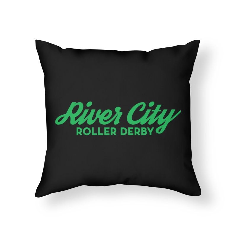 River City Roller Derby Green Home Throw Pillow by River City Roller Derby's Artist Shop