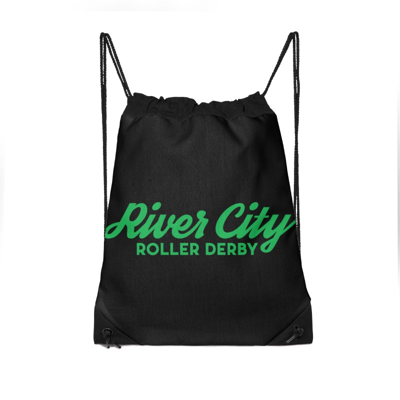 River City Roller Derby Green Accessories Drawstring Bag Bag by River City Roller Derby's Artist Shop