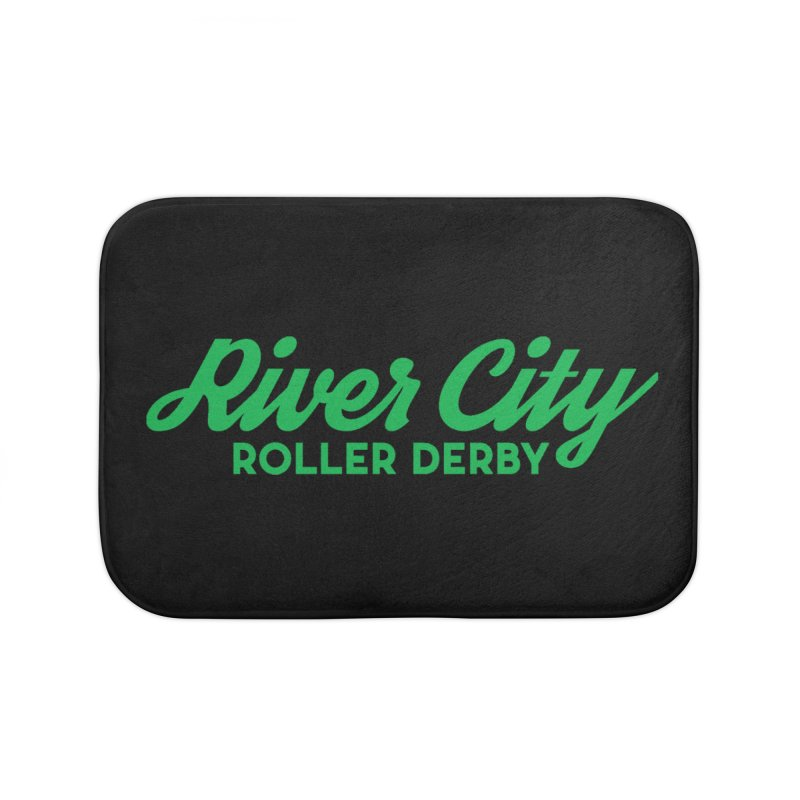 River City Roller Derby Green Home Bath Mat by RiverCityRollerDerby's Artist Shop