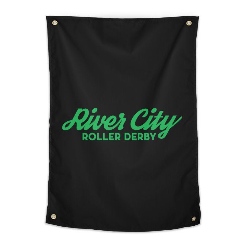 River City Roller Derby Green Home Tapestry by RiverCityRollerDerby's Artist Shop