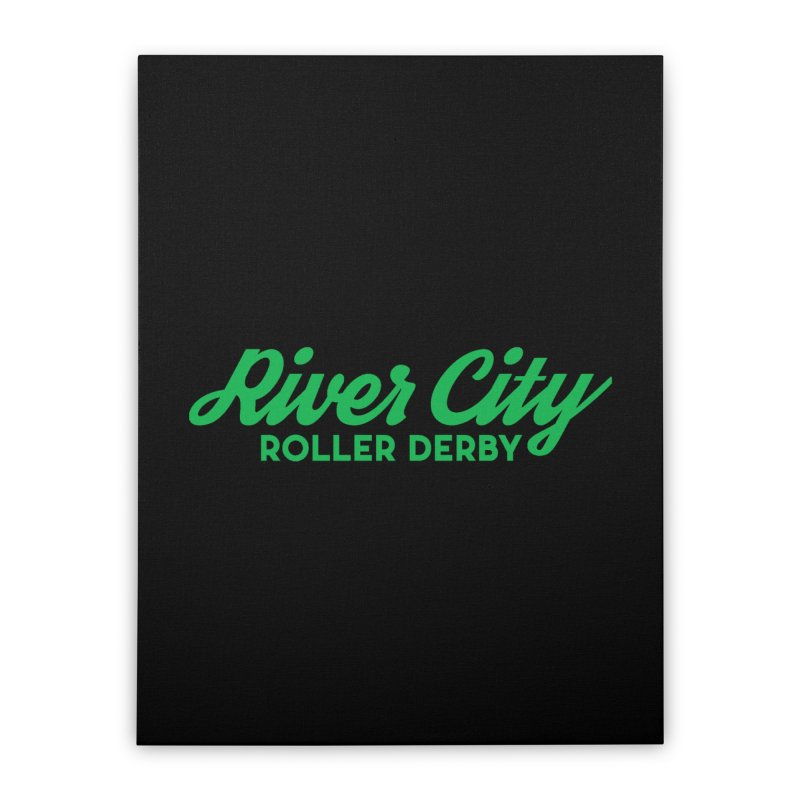 River City Roller Derby Green Home Stretched Canvas by RiverCityRollerDerby's Artist Shop