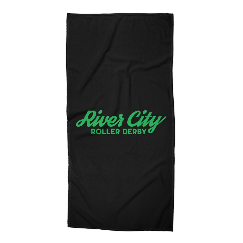 River City Roller Derby Green Accessories Beach Towel by River City Roller Derby's Artist Shop