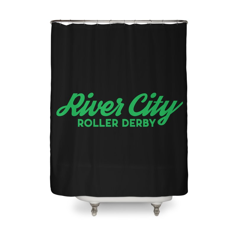 River City Roller Derby Green Home Shower Curtain by River City Roller Derby's Artist Shop