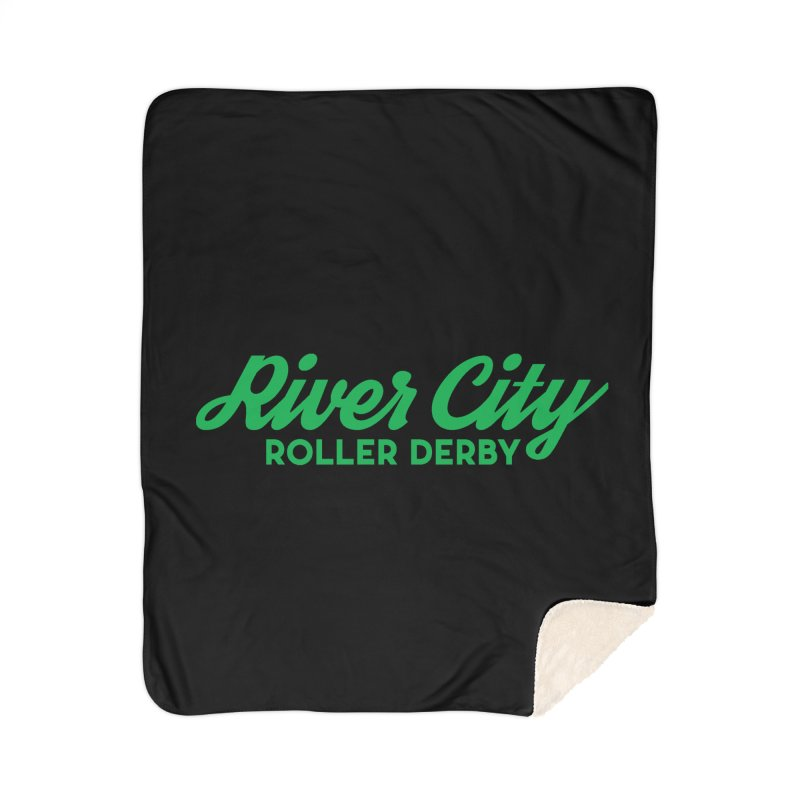 River City Roller Derby Green Home Sherpa Blanket Blanket by River City Roller Derby's Artist Shop