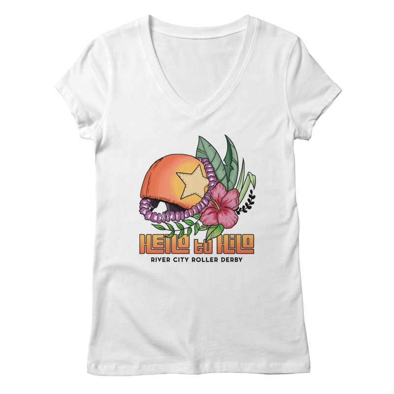 Hello to Hilo Women's Regular V-Neck by River City Roller Derby's Artist Shop