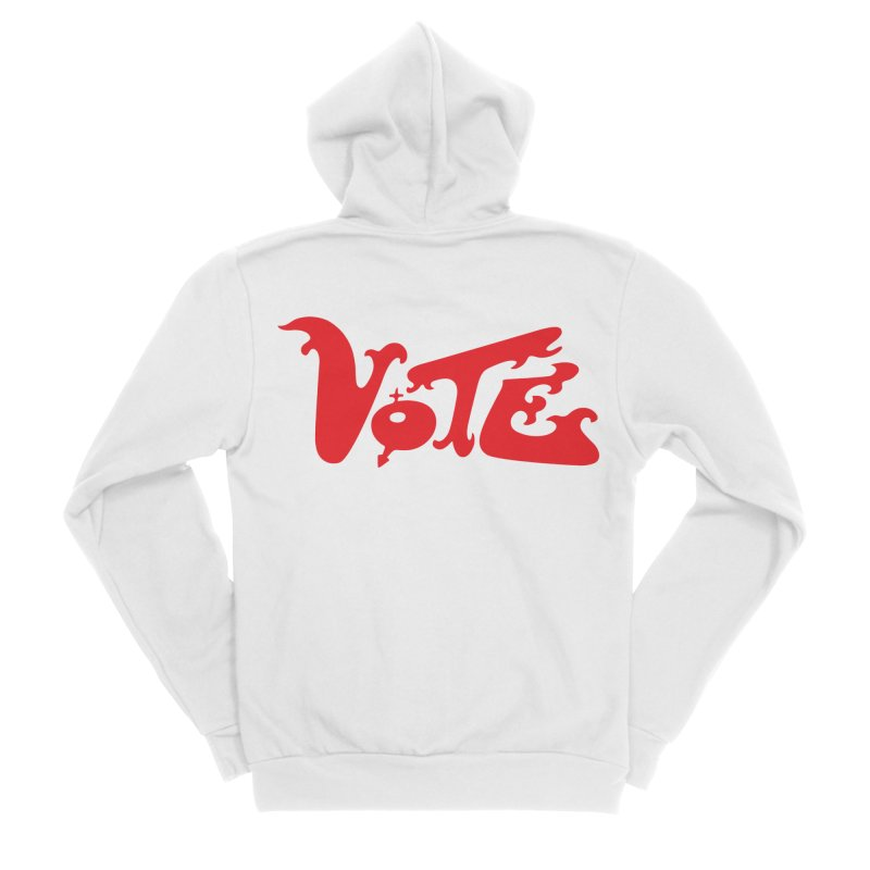 Vote Groovy (RED) Men's Sponge Fleece Zip-Up Hoody by RobBoyleArt's Artist Shop