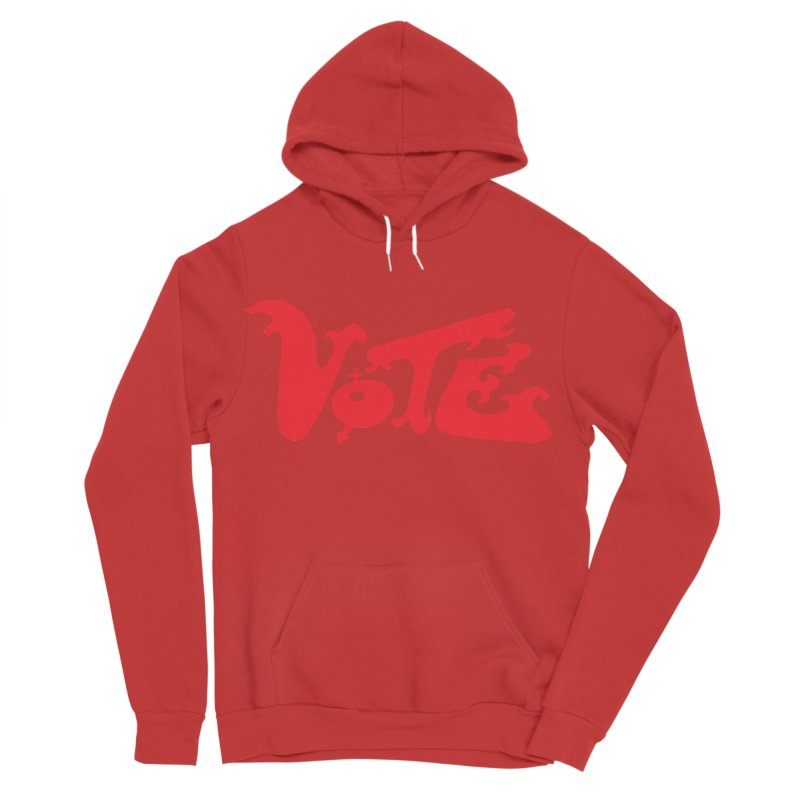 Vote Groovy (RED) Men's Sponge Fleece Pullover Hoody by RobBoyleArt's Artist Shop