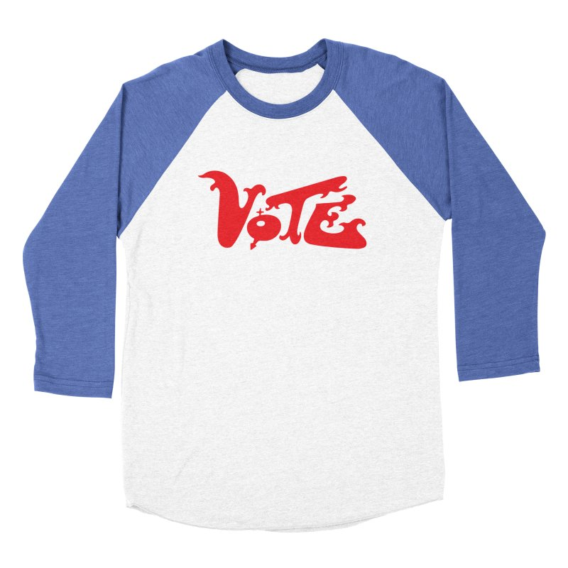 Vote Groovy (RED) Women's Baseball Triblend Longsleeve T-Shirt by RobBoyleArt's Artist Shop