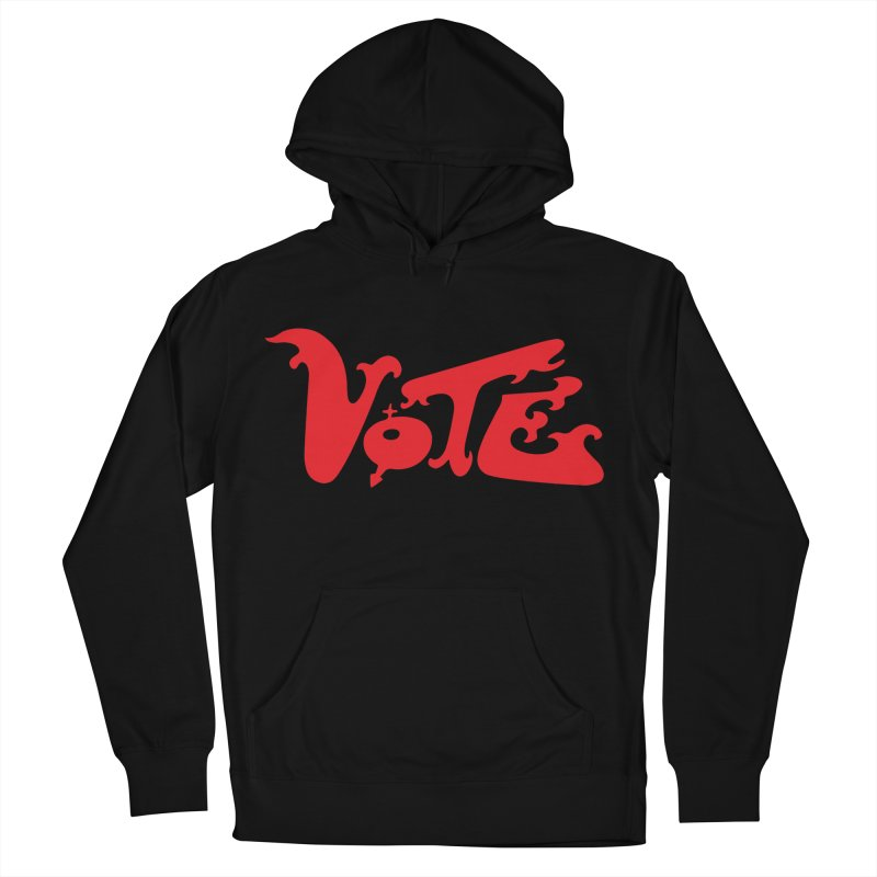 Vote Groovy (RED) Men's French Terry Pullover Hoody by RobBoyleArt's Artist Shop