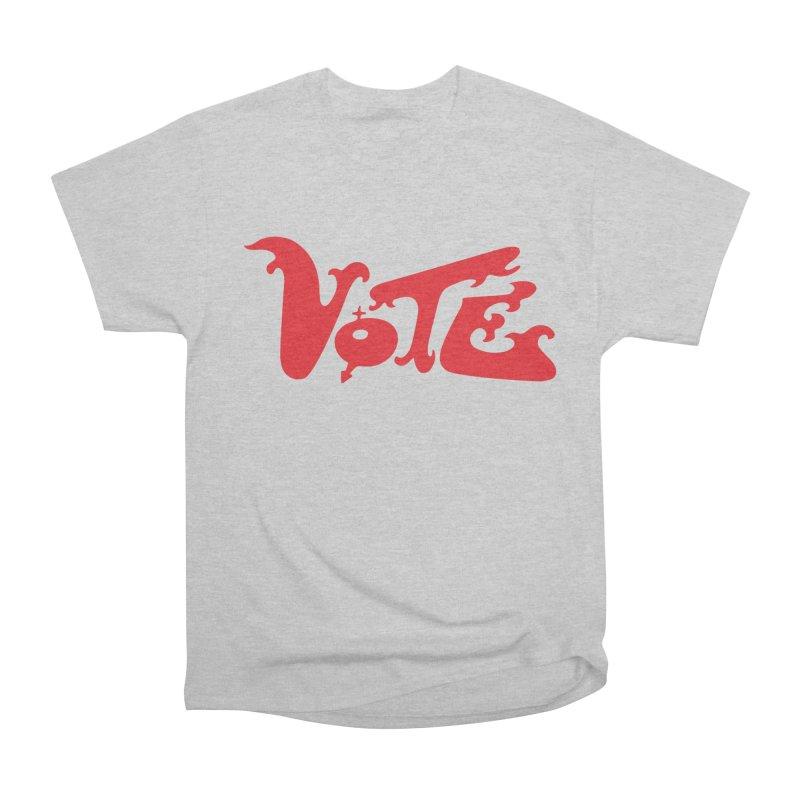 Vote Groovy (RED) Women's Heavyweight Unisex T-Shirt by RobBoyleArt's Artist Shop