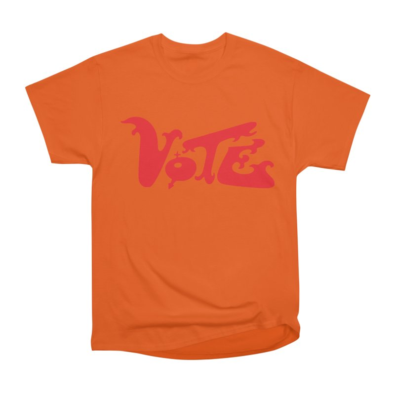 Vote Groovy (RED) Men's Heavyweight T-Shirt by RobBoyleArt's Artist Shop