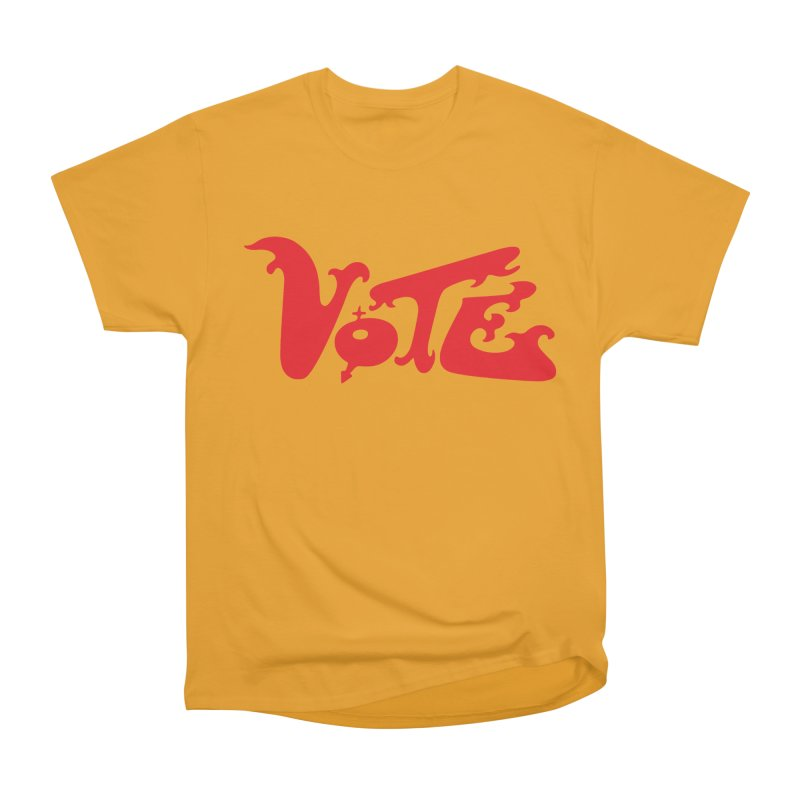 Vote Groovy (RED) Women's Heavyweight Unisex T-Shirt by RobBoyleArt's Artist Shop