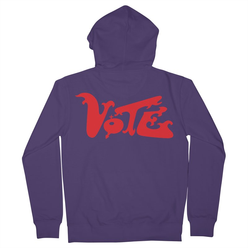 Vote Groovy (RED) Women's French Terry Zip-Up Hoody by RobBoyleArt's Artist Shop