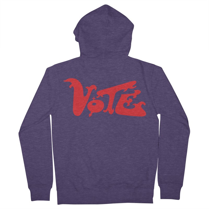 Vote Groovy (RED) Men's French Terry Zip-Up Hoody by RobBoyleArt's Artist Shop
