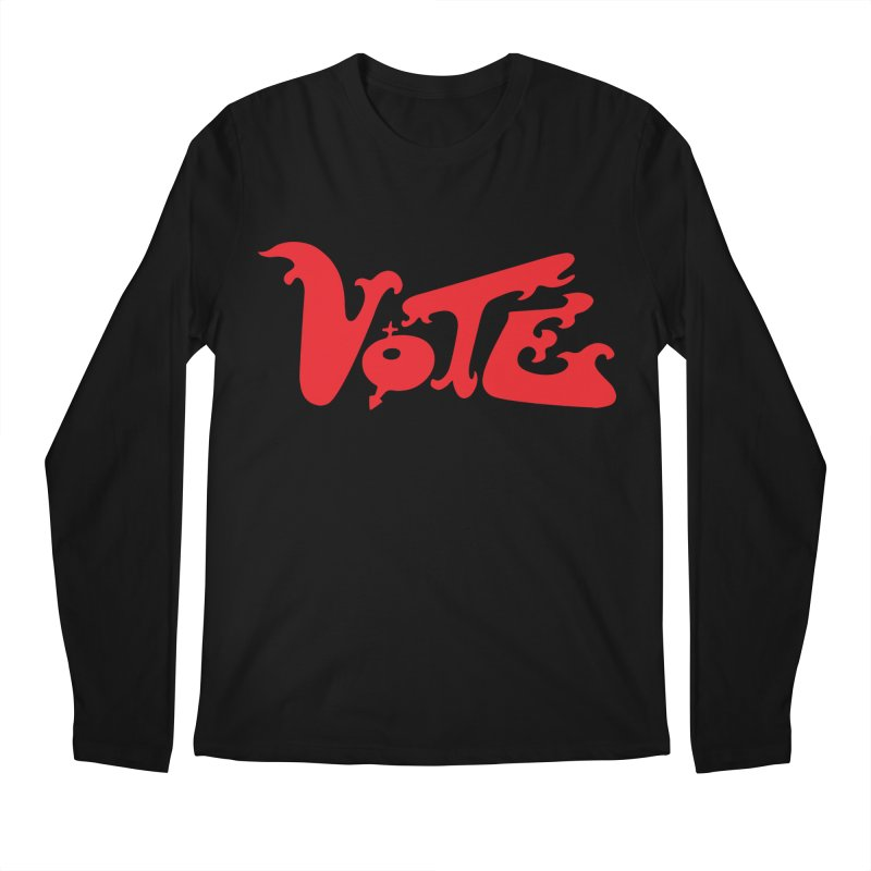 Vote Groovy (RED) Men's Regular Longsleeve T-Shirt by RobBoyleArt's Artist Shop