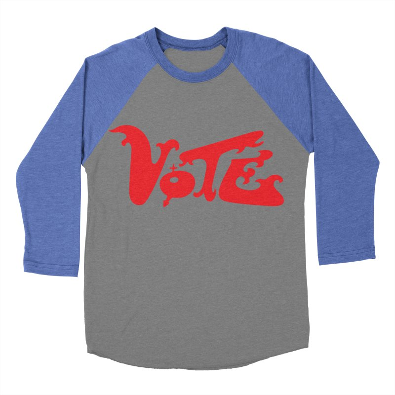 Vote Groovy (RED) Women's Baseball Triblend Longsleeve T-Shirt by RobBoyleArt's Artist Shop