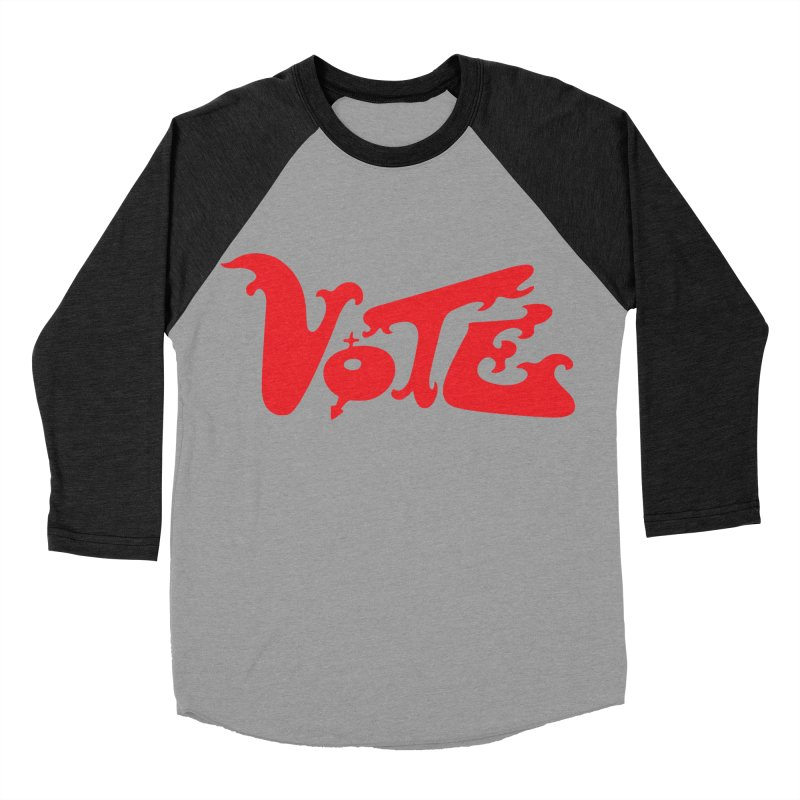 Vote Groovy (RED) Men's Baseball Triblend Longsleeve T-Shirt by RobBoyleArt's Artist Shop