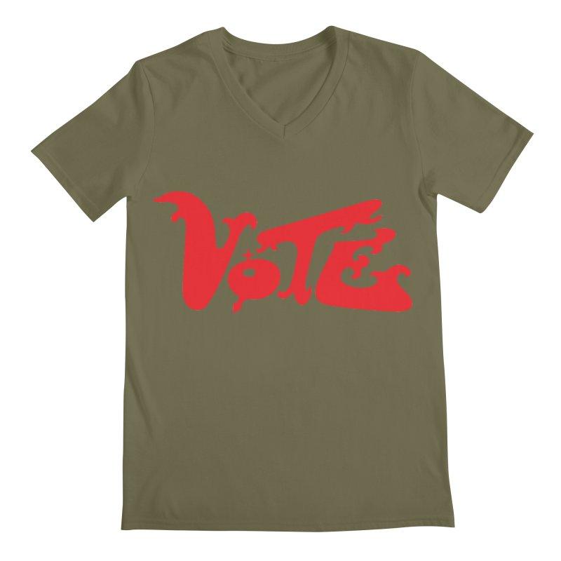 Vote Groovy (RED) Men's Regular V-Neck by RobBoyleArt's Artist Shop