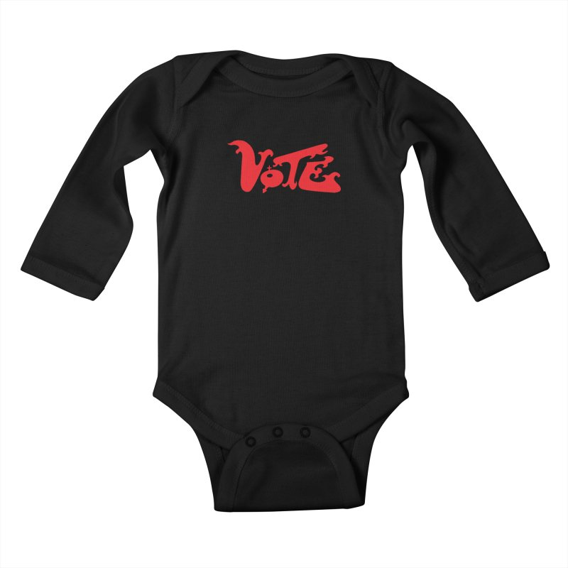 Vote Groovy (RED) Kids Baby Longsleeve Bodysuit by RobBoyleArt's Artist Shop