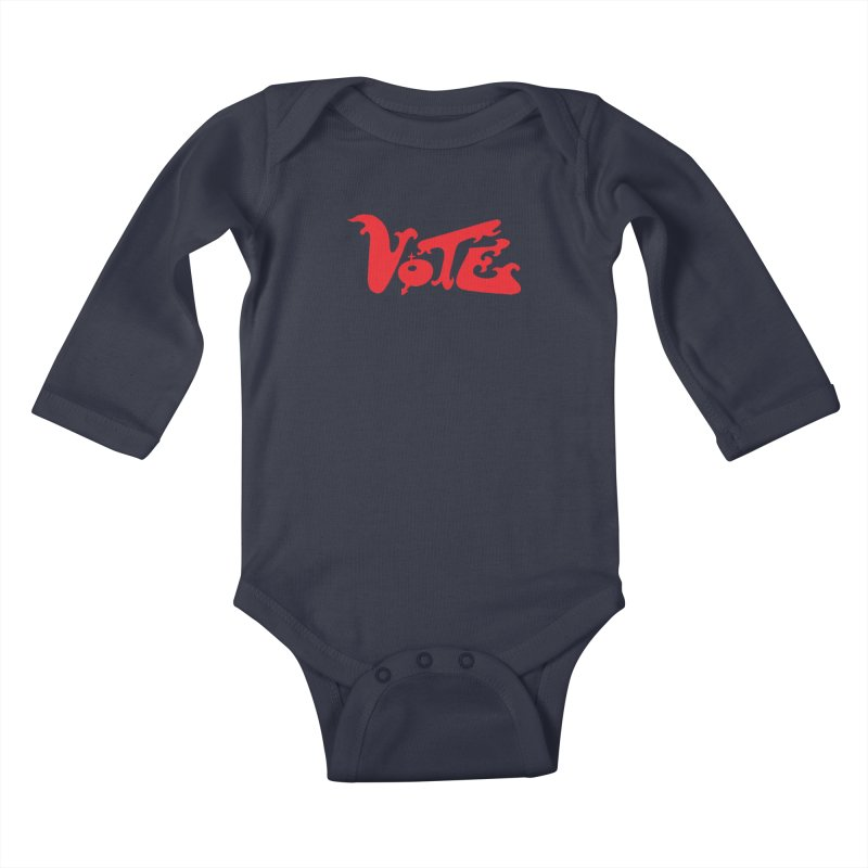 Vote Groovy (RED) Kids Baby Longsleeve Bodysuit by RobBoyleArt's Artist Shop