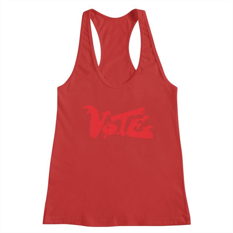 Vote Groovy (RED) Women's Racerback Tank by RobBoyleArt's Artist Shop