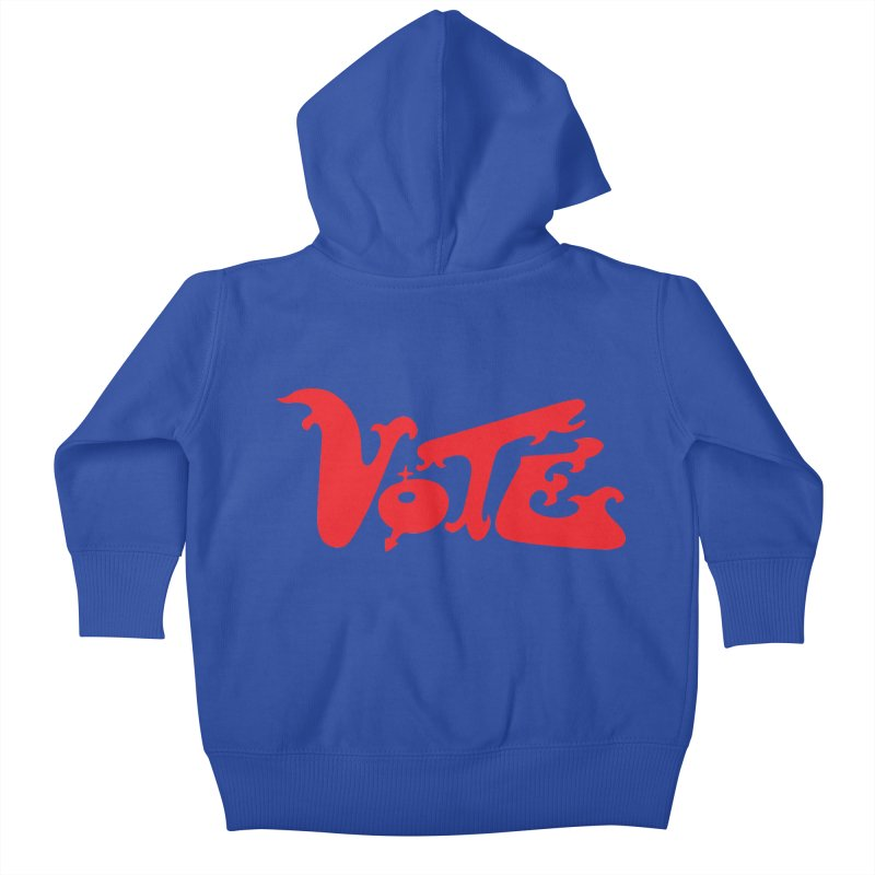 Vote Groovy (RED) Kids Baby Zip-Up Hoody by RobBoyleArt's Artist Shop