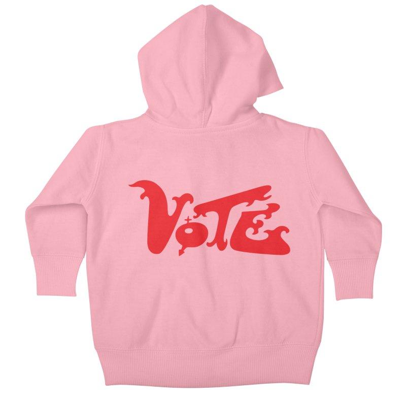 Vote Groovy (RED) Kids Baby Zip-Up Hoody by RobBoyleArt's Artist Shop
