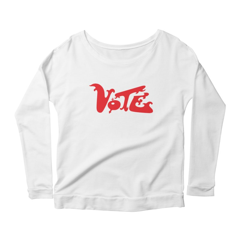 Vote Groovy (RED) Women's Scoop Neck Longsleeve T-Shirt by RobBoyleArt's Artist Shop