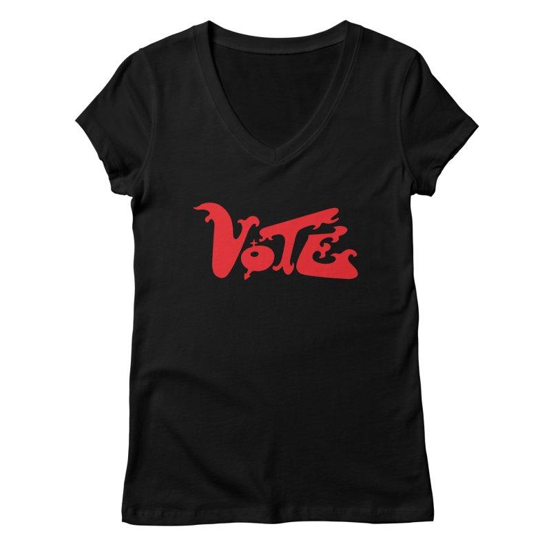 Vote Groovy (RED) Women's Regular V-Neck by RobBoyleArt's Artist Shop