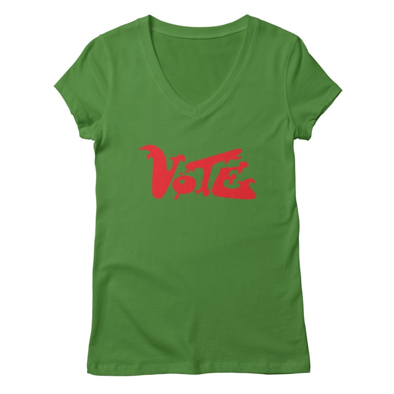 Vote Groovy (RED) Women's Regular V-Neck by RobBoyleArt's Artist Shop