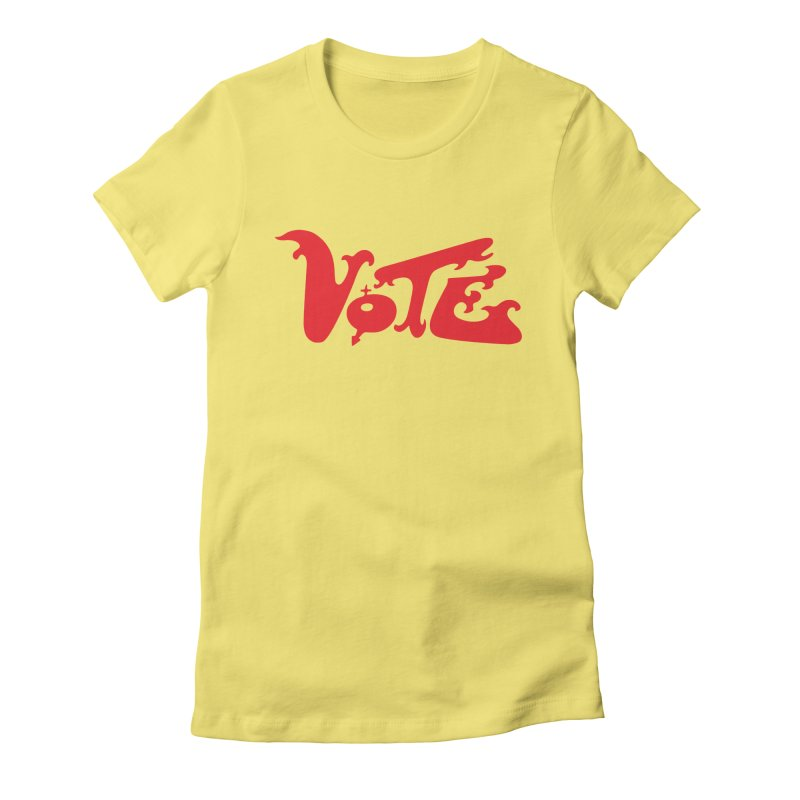 Vote Groovy (RED) Women's Fitted T-Shirt by RobBoyleArt's Artist Shop