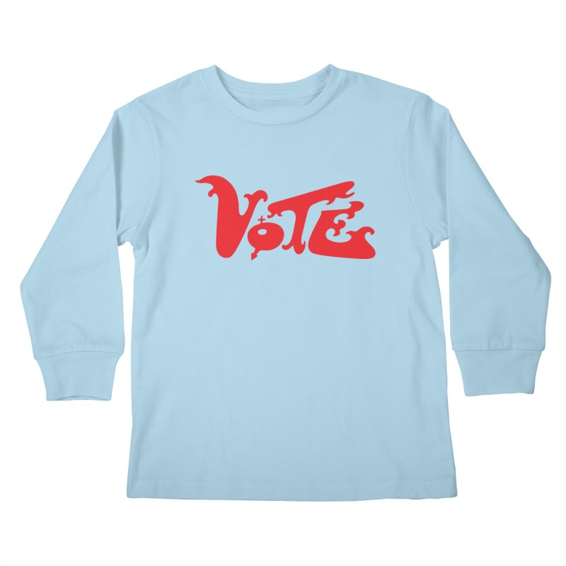 Vote Groovy (RED) Kids Longsleeve T-Shirt by RobBoyleArt's Artist Shop