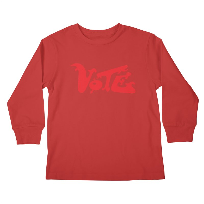 Vote Groovy (RED) Kids Longsleeve T-Shirt by RobBoyleArt's Artist Shop