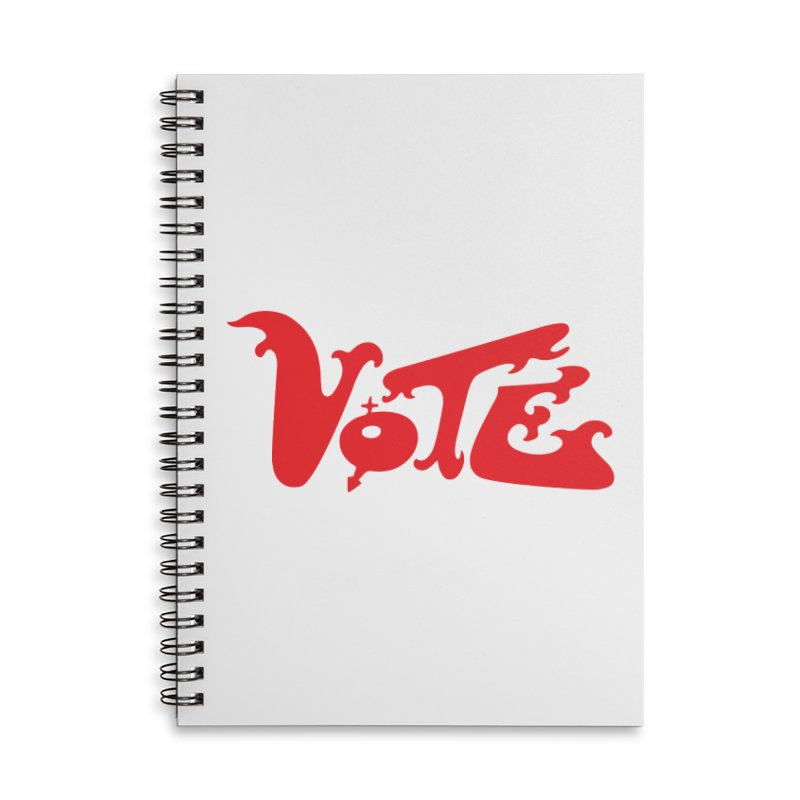 Vote Groovy (RED) Accessories Lined Spiral Notebook by RobBoyleArt's Artist Shop