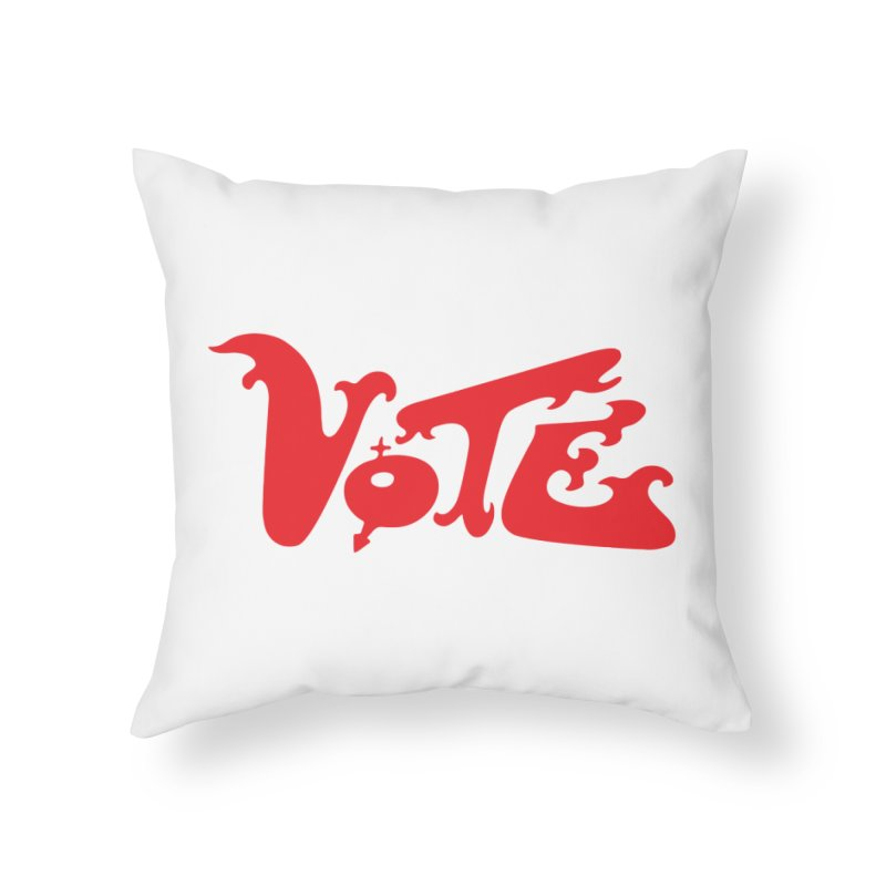 Vote Groovy (RED) Home Throw Pillow by RobBoyleArt's Artist Shop