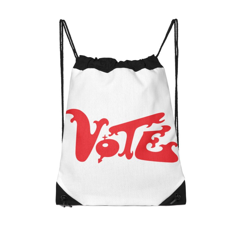 Vote Groovy (RED) Accessories Drawstring Bag Bag by RobBoyleArt's Artist Shop