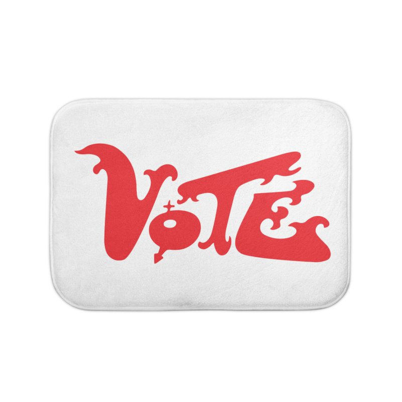 Vote Groovy (RED) Home Bath Mat by RobBoyleArt's Artist Shop